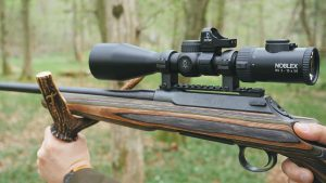 Combined use of a riflescope and a red dot sight