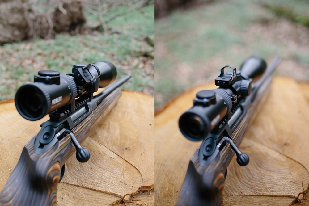 Red dot sight mounted on a 45° angle and on top