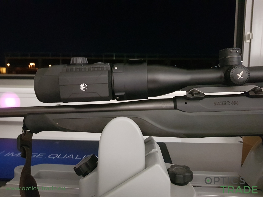 Pulsar F455 digital night vision clip-on mounted on a Swarovski riflescope