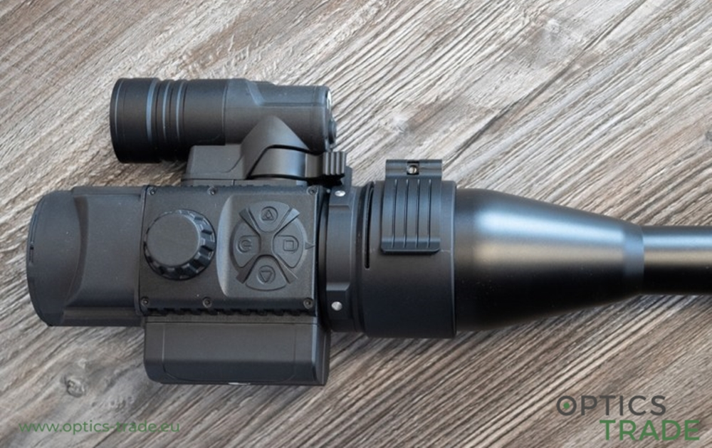 Pulsar F455 digital night vision clip-on mounted on a riflescope