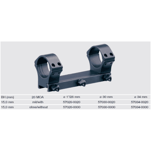 Recknagel One-piece scope mount for Picatinny, 26mm, 20 MOA